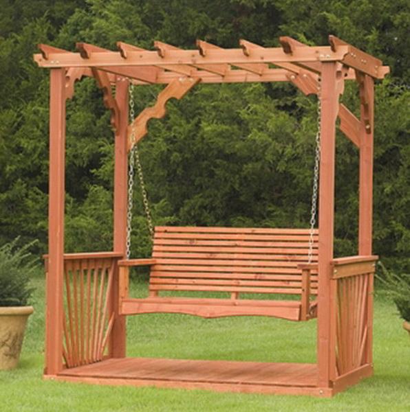 New outdoor 7 39 wooden cedar wood pergola yard garden porch for Building a wooden swing