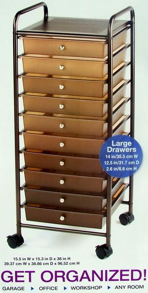 new rolling 10 drawer scrapbook storage organizer cart craft supplies shelves. Black Bedroom Furniture Sets. Home Design Ideas