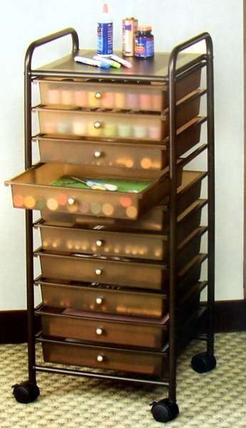 New rolling 10 drawer scrapbook storage organizer cart for Rolling craft cart with drawers