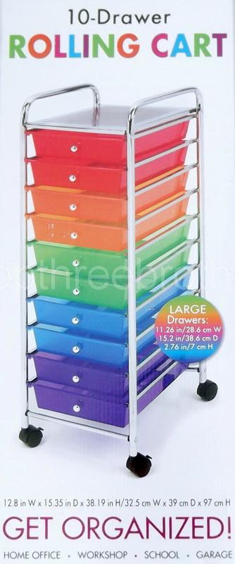 new 10 multi color drawers metal rolling cart scrapbook supply paper storage ebay. Black Bedroom Furniture Sets. Home Design Ideas