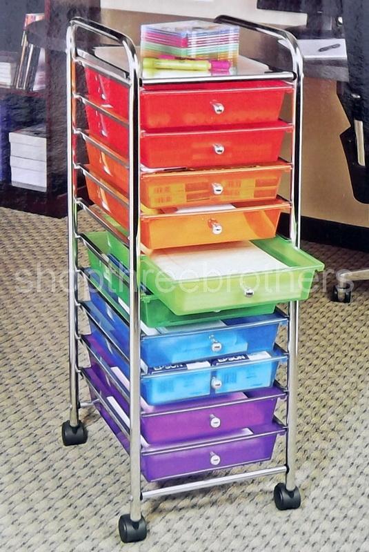 New 10 Multi Color Drawers Metal Rolling Cart Scrapbook