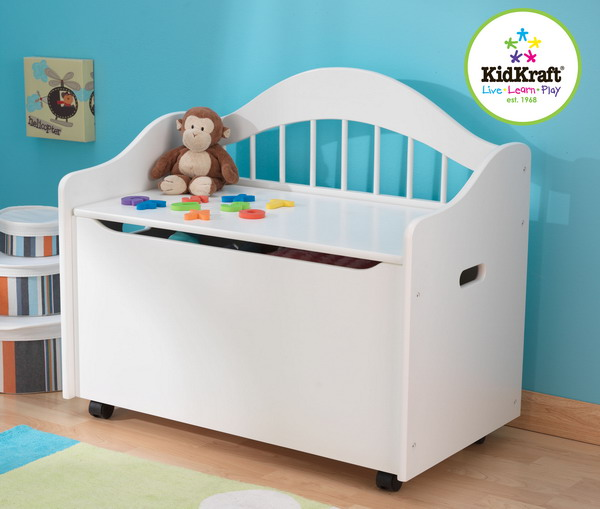 Details about New White Wood Kids Toy Box Wooden Wood Storage Chest