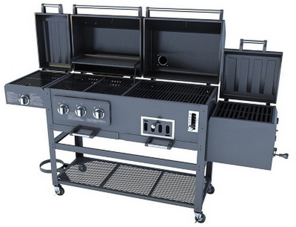 new large 4 in 1 combo gas charcaol grill 3 burner with bbq smoker box sear. Black Bedroom Furniture Sets. Home Design Ideas