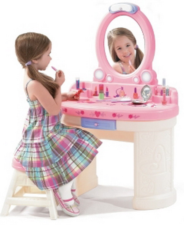 New Kids Girls Pink Play Dress Up Vanity With Mirror Stool
