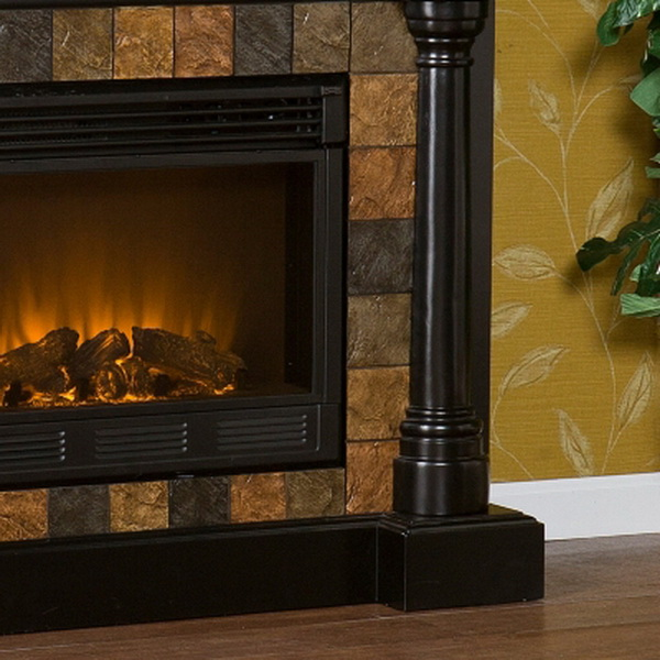 new black electric fireplace with slate tile surround for