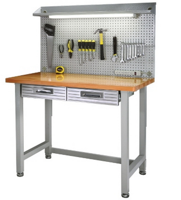 New Steel Frame Wood Top Work Bench Workbench Built In