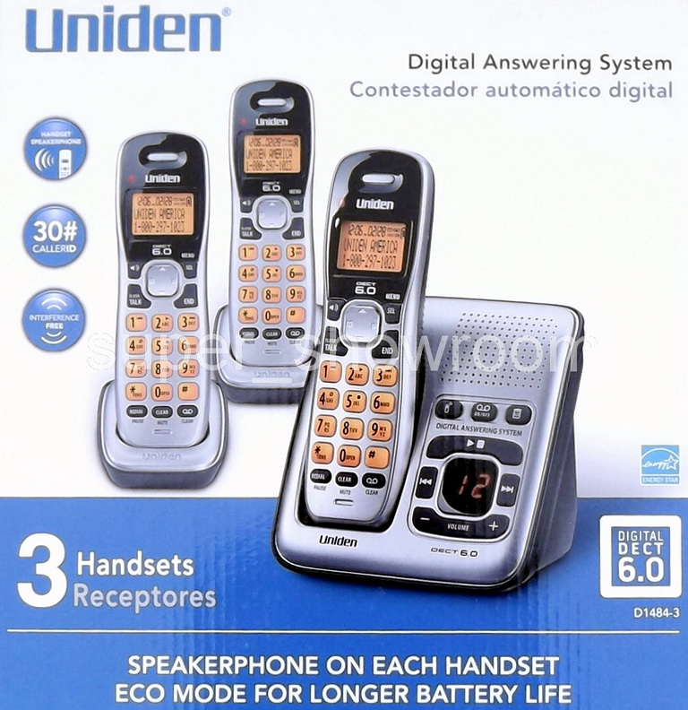 uniden dect 3-handset cordless phone set with caller id