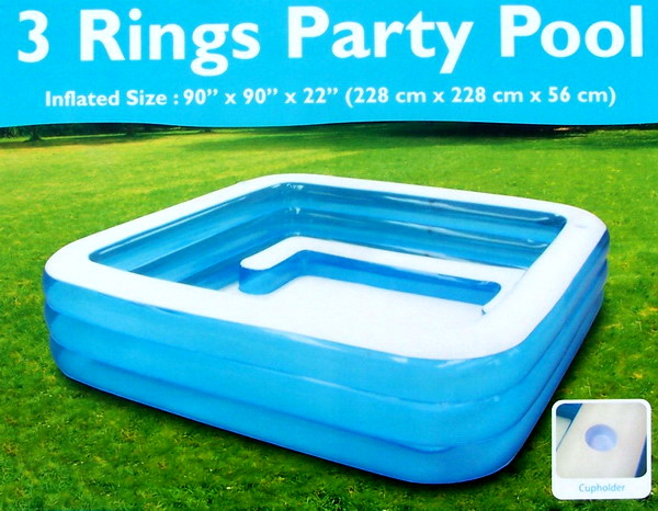 New huge inflatable swimming pool wading 7 5 39 x 7 5 39 square x 22 deep ebay for Swimming pool square footage calculator