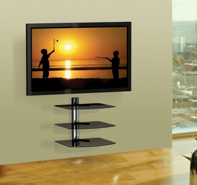 new 3 shelf wall mount av equipment holder home theatre. Black Bedroom Furniture Sets. Home Design Ideas