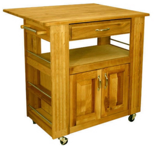 New Large Wood Kitchen Island Butcher Block Drop Leaf Top