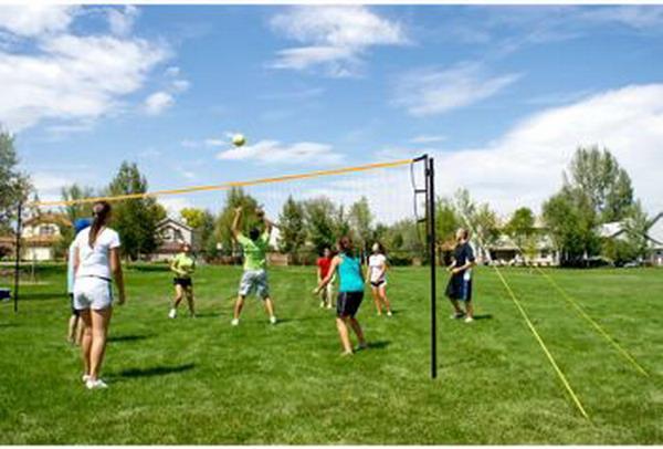 Backyard Volleyball Net Size : New Complete Outdoor Flex Volleyball Set Tournament Ball Net Bag Court