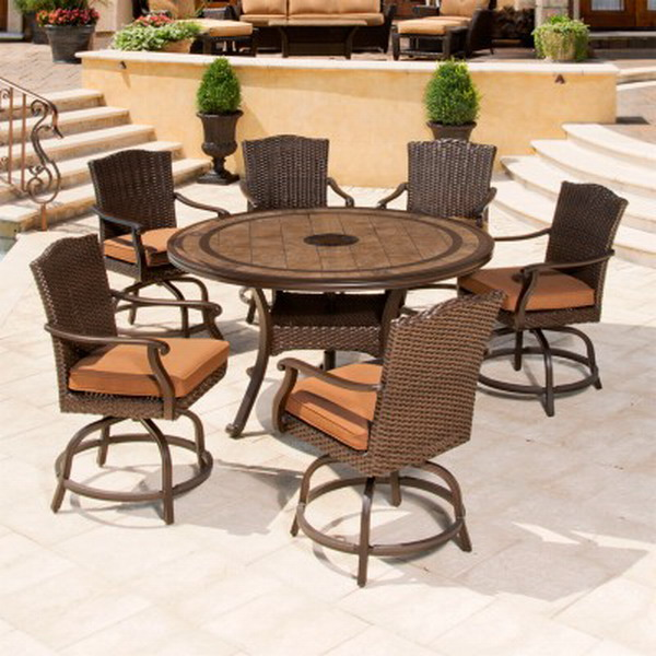 New outdoor dining furniture set 60 round porcelain tile for Outdoor dining sets for 6 round table