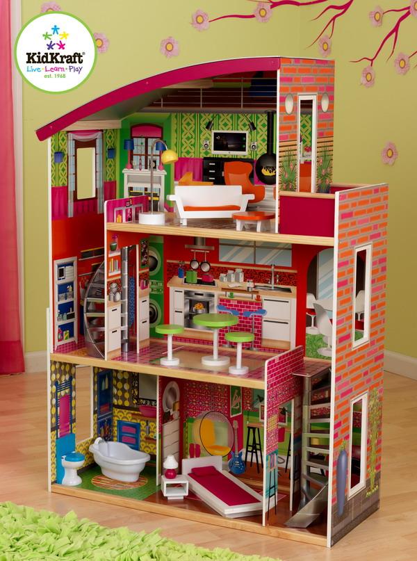 New Huge Girls Wood Dollhouse For 12 Barbie Wooden Doll House 11 Furniture Set Ebay