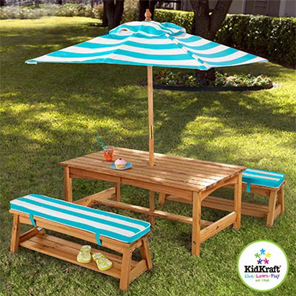 New kid 39 s wood picnic table 2 benches outdoor cushions - Children s picnic table with umbrella ...