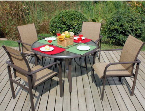 New 5 Pc Patio Dining Outdoor Furniture Set 48 Round Glass Table 4 Chai