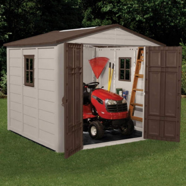 New big lawn tractor tools shed 7 5 39 x 7 5 39 interior for Lawn mower storage shed