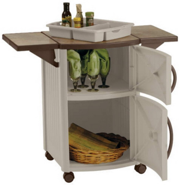 New Rolling Outdoor Serving Station Cabinet BBQ Patio