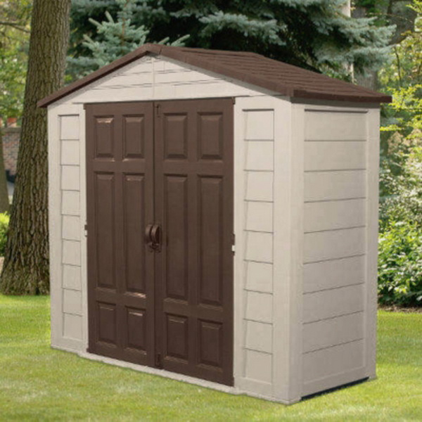New suncast 7 5 x 3 yard garden storage shed building with for Garden shed 7 x 3