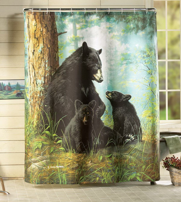 Northwood Bathroom Decor Black Bear Family In Forest Shower Curtain