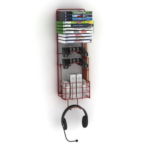 New wall mount video game storage rack media gear gamer station xbox ps3 ebay - Wall mount headphone holder ...