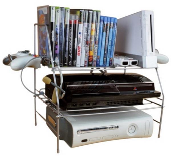 New Video Game System Storage Rack Shelf XBOX PS3 Wii