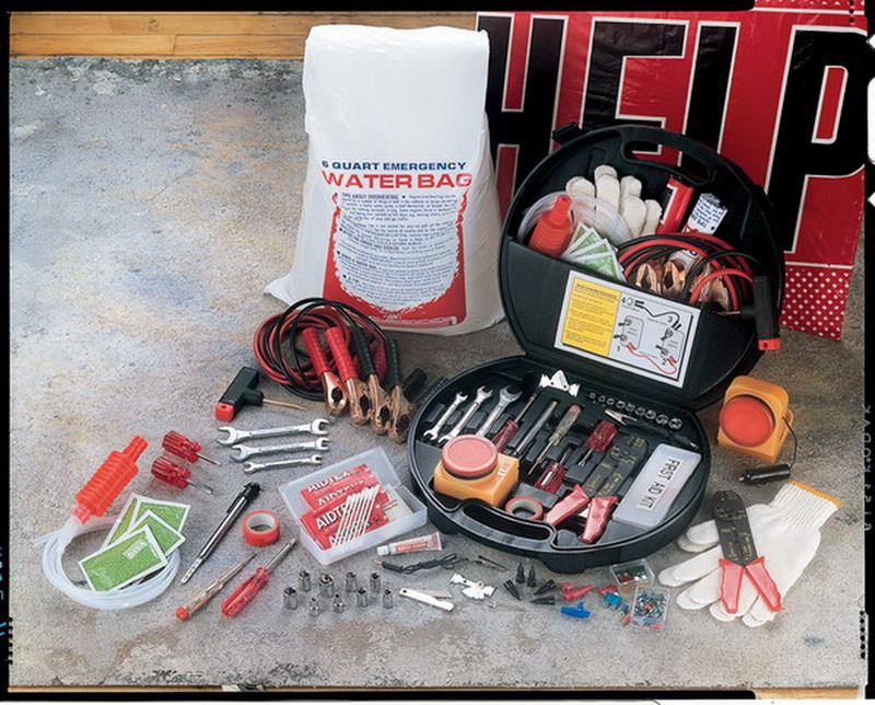 new car emergency kit roadside help 150 piece tool first aid set jumper cables ebay. Black Bedroom Furniture Sets. Home Design Ideas
