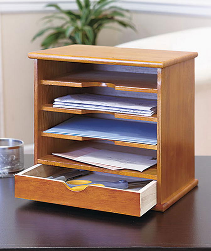 New desk mail organizer 1 drawer 4 slot natural solid wood - Wooden desk organizer with drawers ...