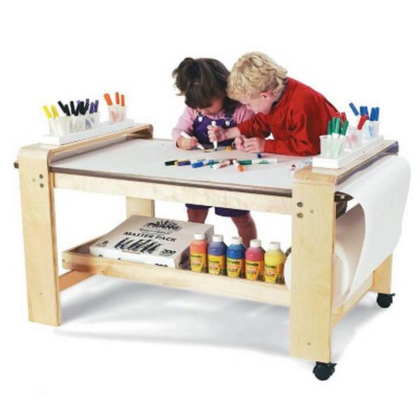 new big wooden kids art table birch wood paper roll holder childrens artist. Black Bedroom Furniture Sets. Home Design Ideas