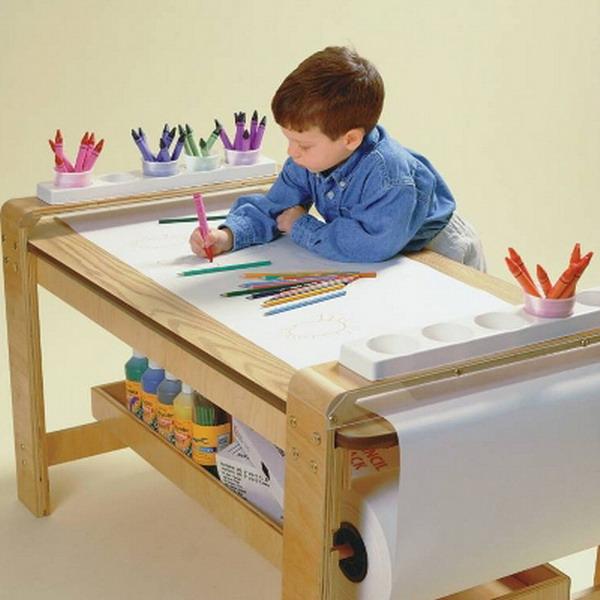 New Big Wooden Kids Art Table Birch Wood Paper Roll Holder Childrens Artist