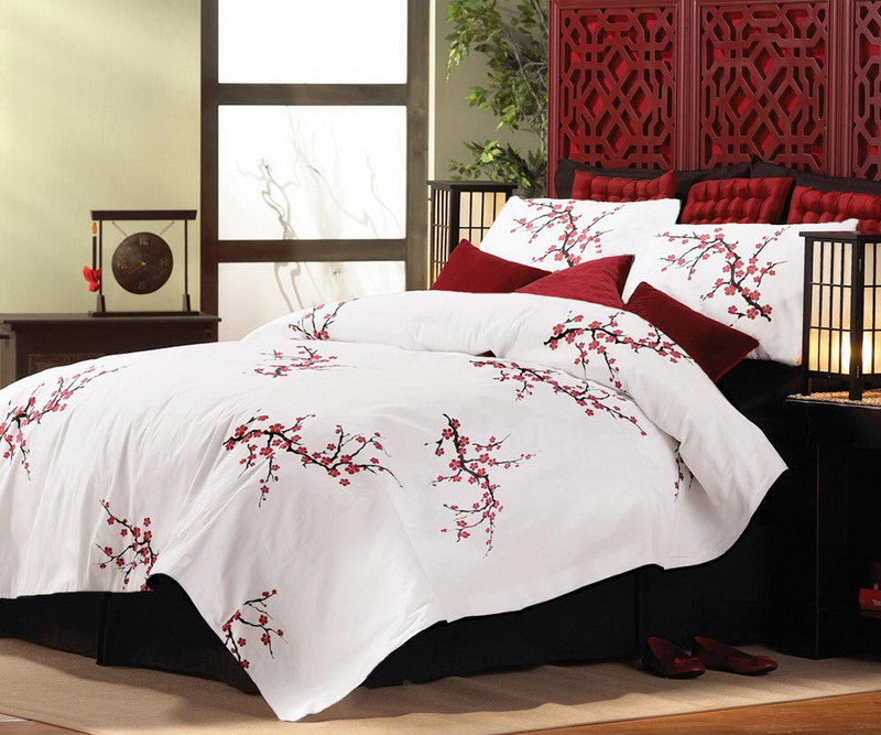 asian cherry blossom style king size comforter pillow shams bedding