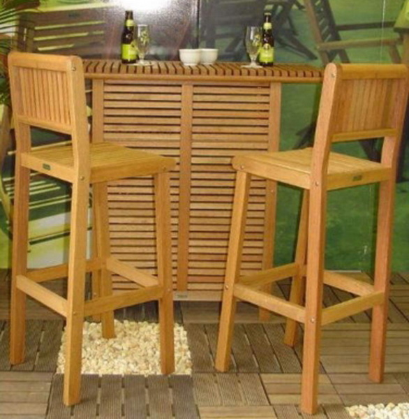 New 3 Piece Outdoor Wooden Bar Two Stools Bar Table Patio Dining