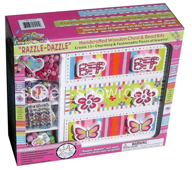 New Girls Jewelry Making Toy Bead Kits Create Bracelets Wood Chest