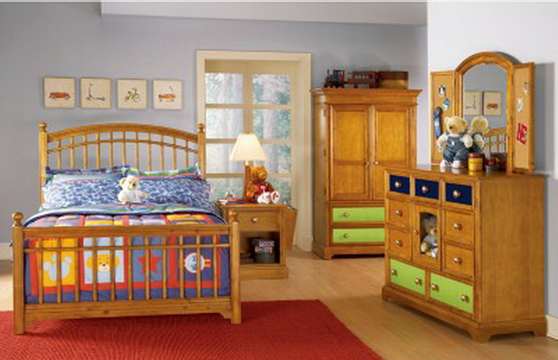 New Full Size Build A Bear Kids 6 Pc Bedroom Furniture Set Wood Bed Dresser