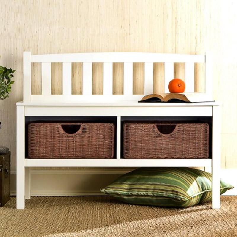 new white wood window bench seat 36 two rattan storage baskets ebay. Black Bedroom Furniture Sets. Home Design Ideas