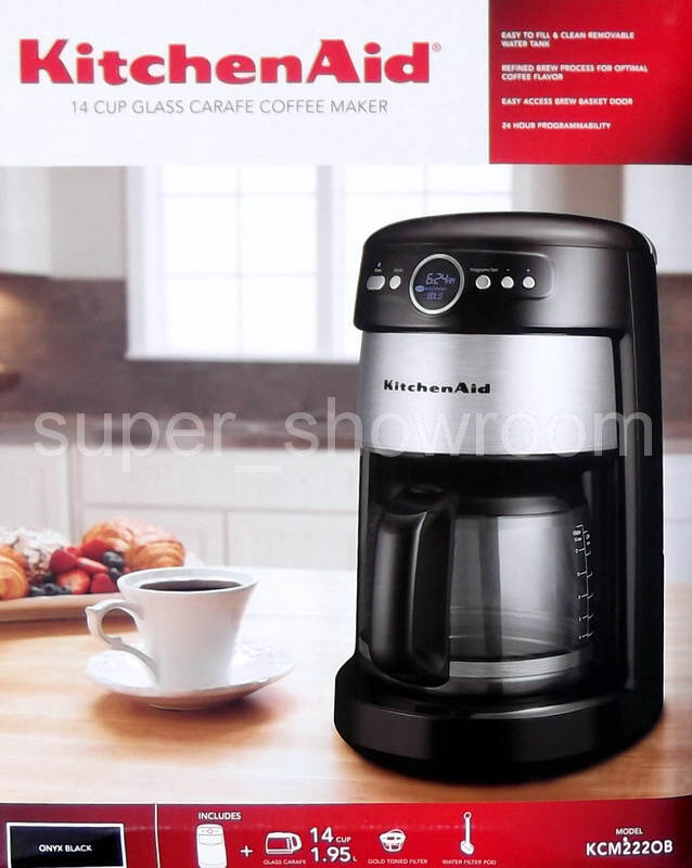New KitchenAid 14 Cup Glass Carafe Digital Stainless Steel Coffee Maker Black