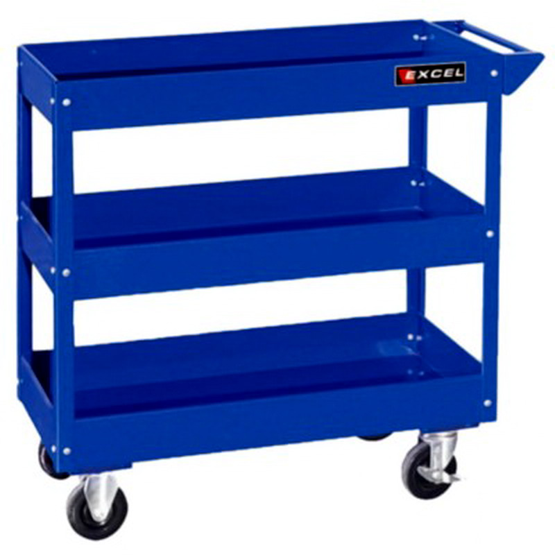 Metal Utility Cart: New Rolling Steel Tool Cart 3 Shelf Mobile Metal Storage