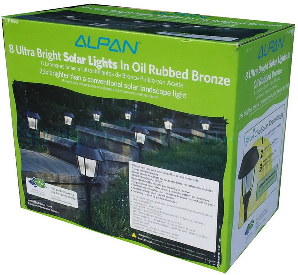 new alpan 8 ultra bright led solar path lights in oil rubbed bronze. Black Bedroom Furniture Sets. Home Design Ideas