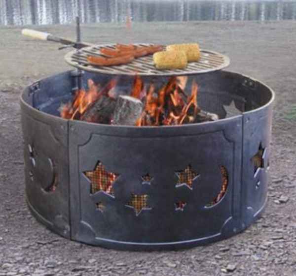 """New Big 27"""" Cast Iron Campfire Ring Fire Pit Star Moon"""