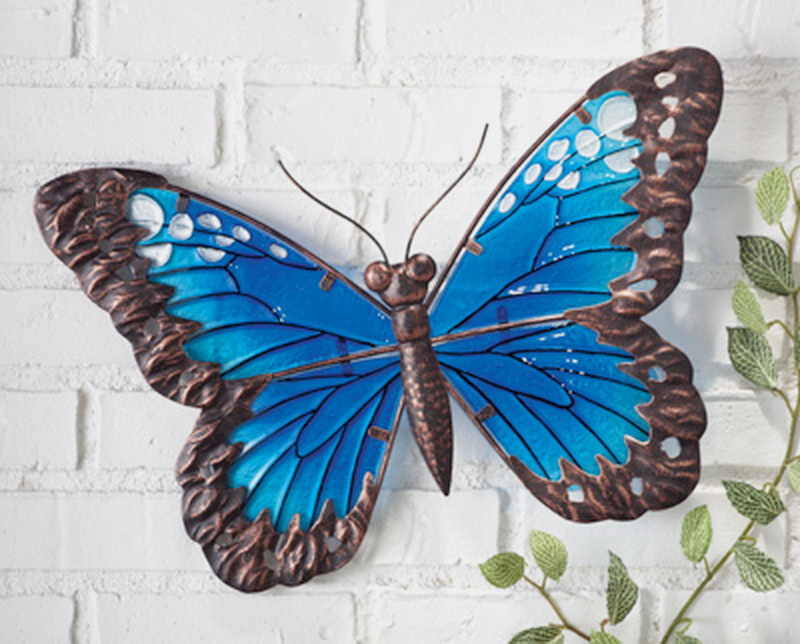 New 16 Wall Art Butterfly Blue Glass And Metal Garden Art Decoration De