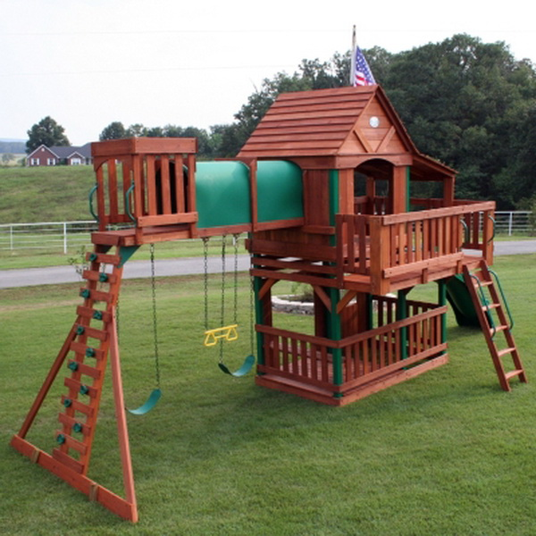 New Woodridge Cedar Wood Giant Playground Swing Set Slide