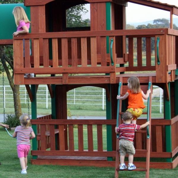 New Woodridge Cedar Wood Giant Playground Swing Set Slide