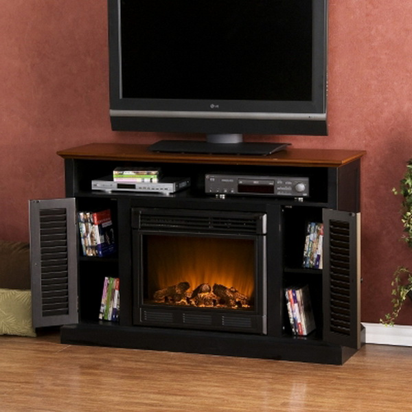 new black walnut electric fireplace tv stand console media. Black Bedroom Furniture Sets. Home Design Ideas