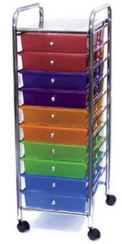 New 10 drawer rolling scrapbook cart metal cropper hopper for Rolling craft storage cart