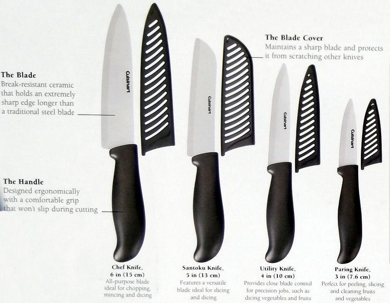 New Cuisinart 9 Pc Black Ceramic Kitchen Knife Set Paring