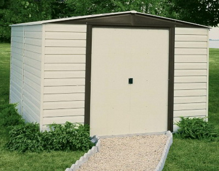 New 10 39 x 12 39 vinyl dallas mower storage outdoor shed kit for Lawn mower storage shed