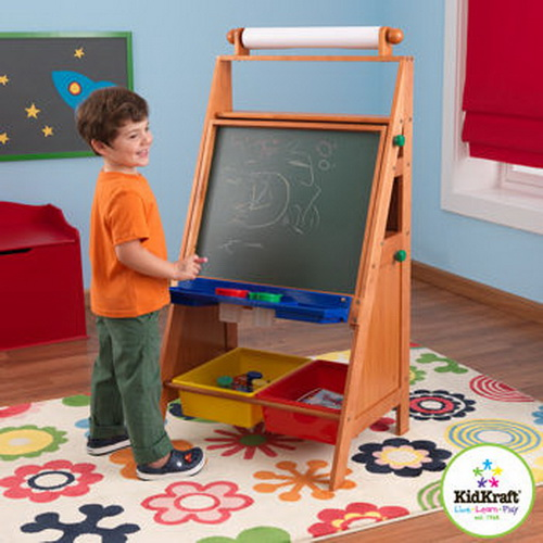 New Kids Wood Art Easel With Paper Roll Chalk Amp Dry Erase