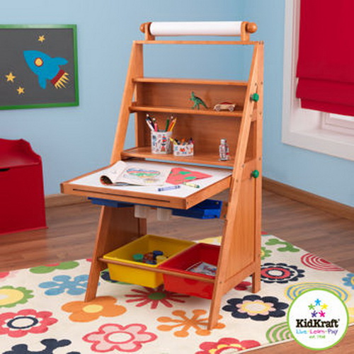 New Kids Wood Art Easel with Paper Roll Chalk & Dry Erase