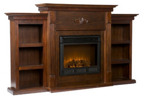 new electric fireplace heater mantle bookcases firebox rich espresso finish ebay. Black Bedroom Furniture Sets. Home Design Ideas