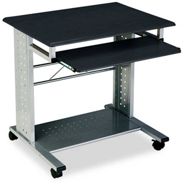 Details about New Black Mobile Computer PC Workstation Desk & Tray