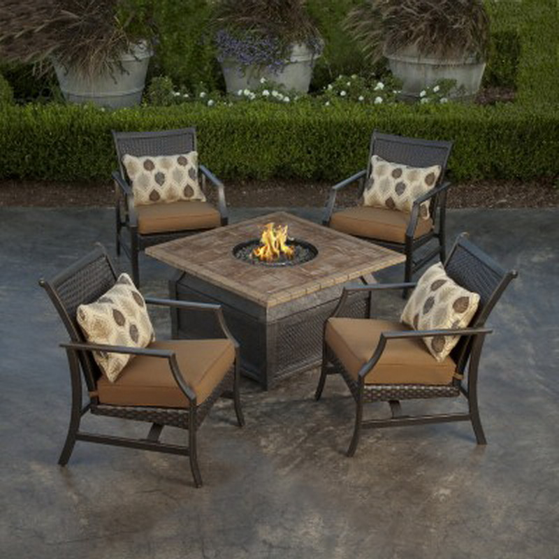 New 5 Piece Fire Pit Chat Set 42 Square Porcelain Top